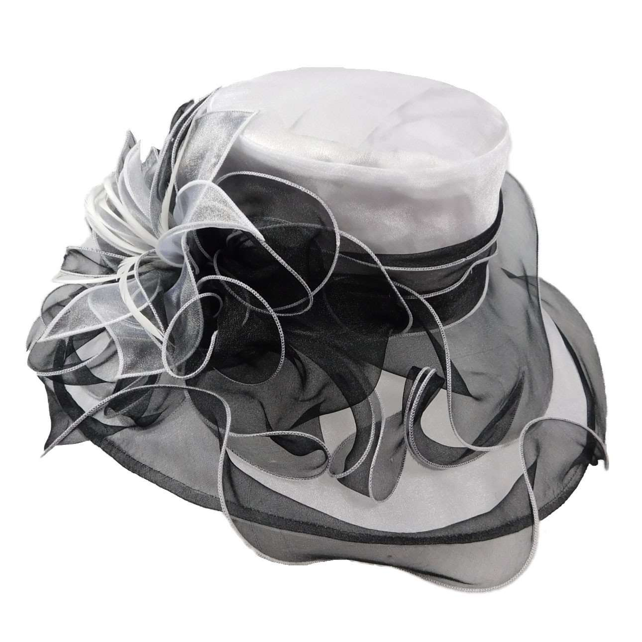 White and Black Organza Hat with Two Tone Floral Accent - SetarTrading Hats