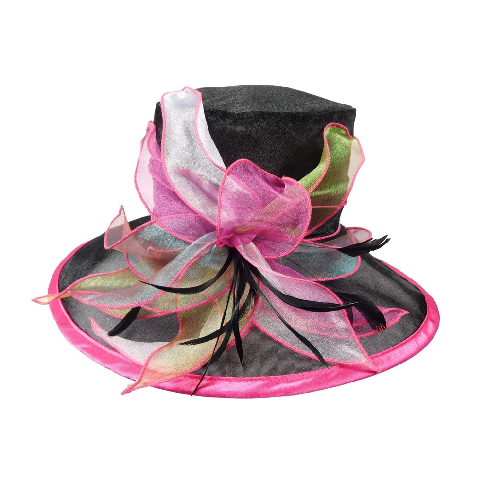 Organza Hat with Fuchsia Trim - SetarTrading Hats