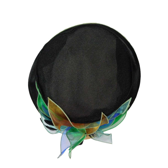 Black Organza Hat with Green Satin Trim - SetarTrading Hats