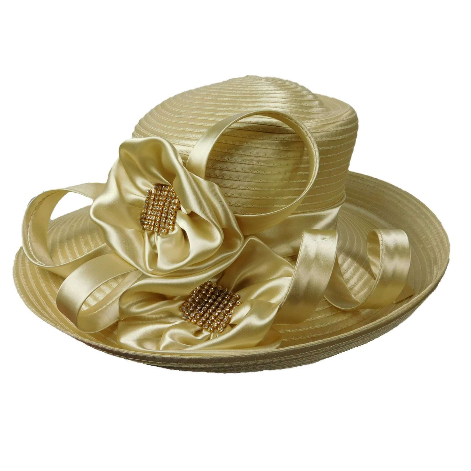 Asymmetric Satin Braid Hat with Satin Flowers - SetarTrading Hats