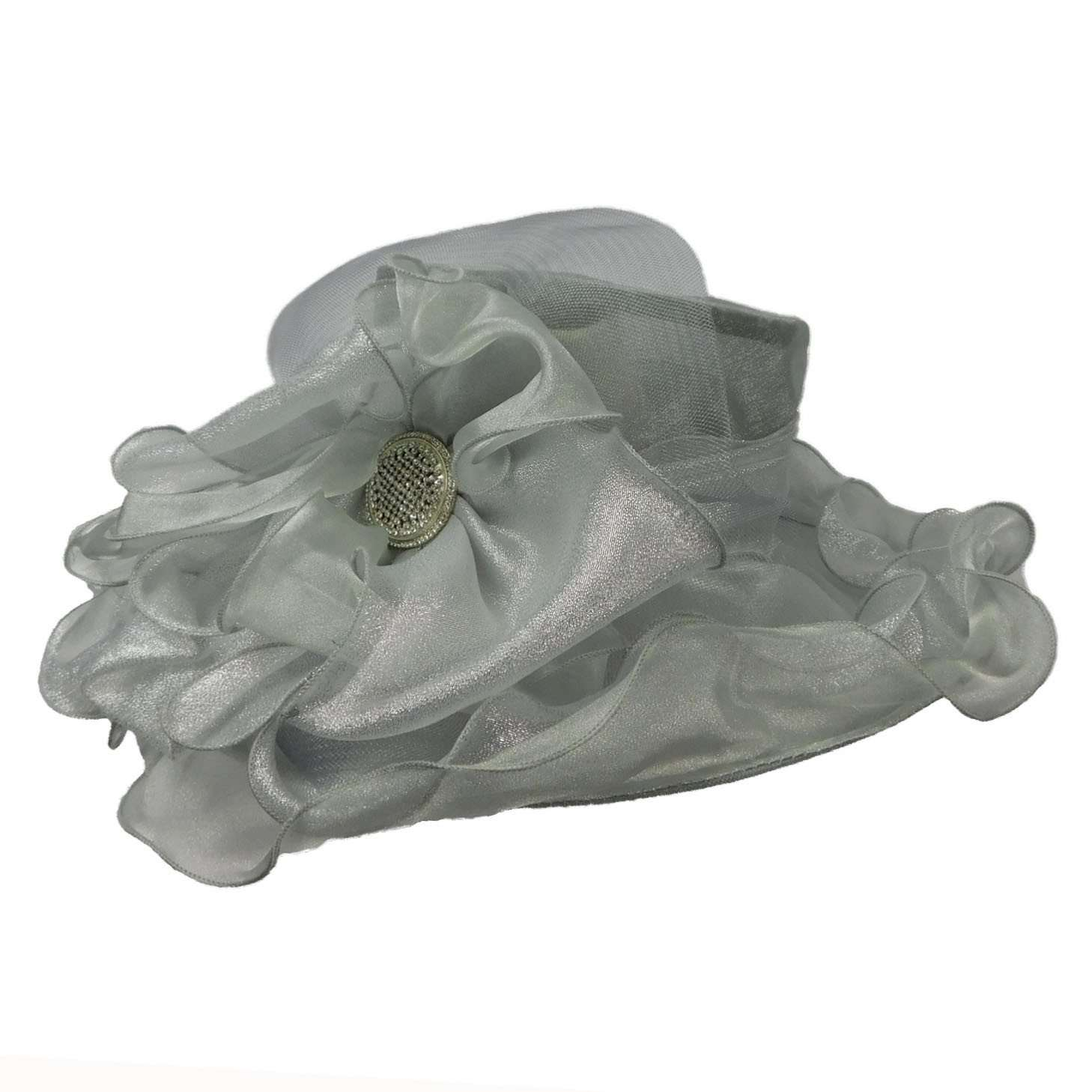 Sheer Satin Organza Hat with Rhinestone accent - SetarTrading Hats