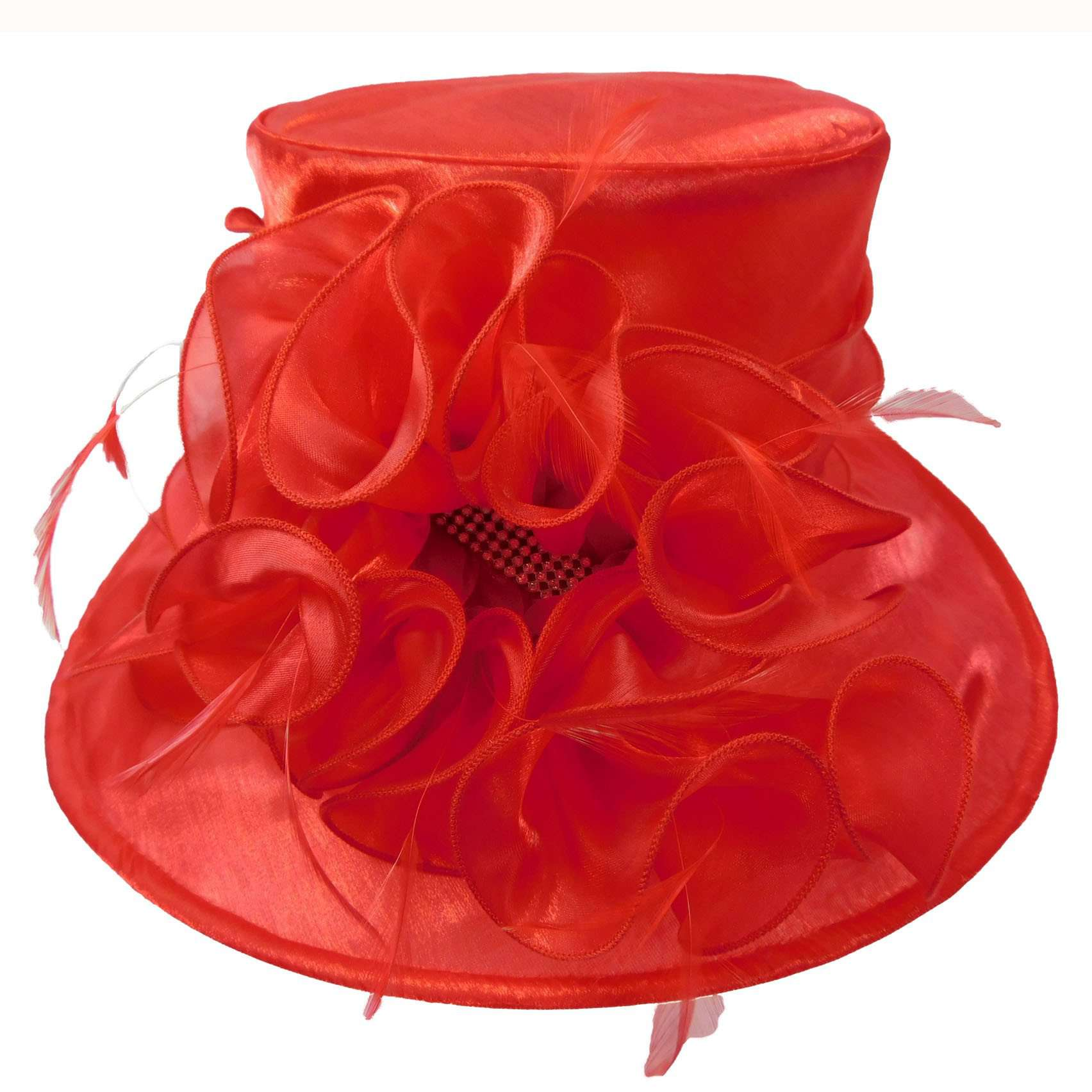 Satin Organza Hat with Lily Flower - SetarTrading Hats