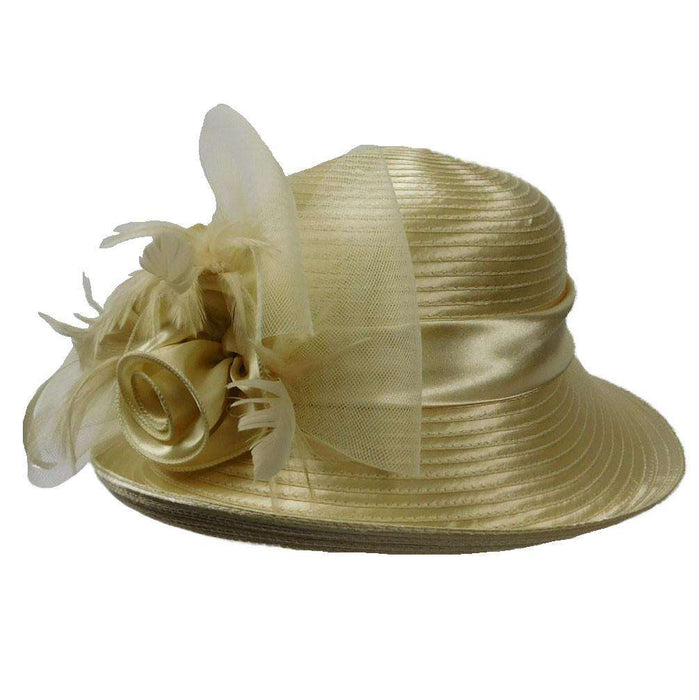 Satin Braid Hat with Rose and Feathers - SetarTrading Hats