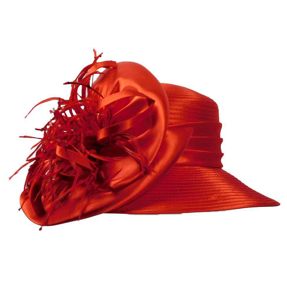 Satin Braid Hat with Feather Burst - SetarTrading Hats
