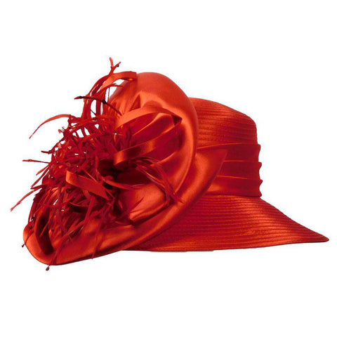 Satin Braid Hat with Feather Burst