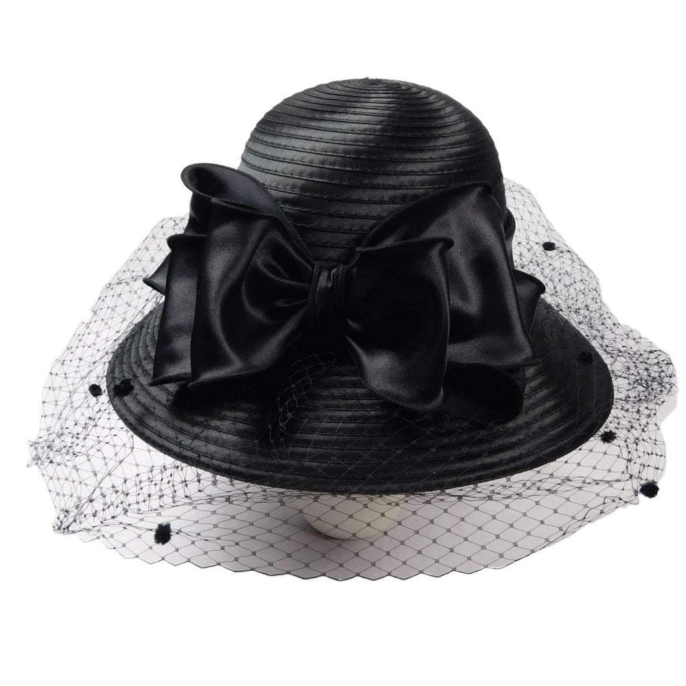 Satin Braid Hat with Netting Veil - SetarTrading Hats