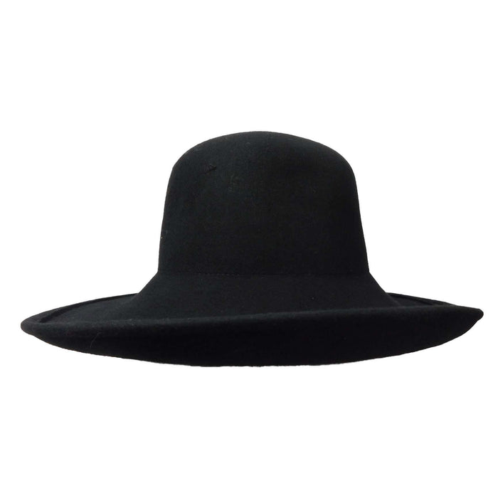 Large Curled Brim Wool Felt Hat - SetarTrading Hats