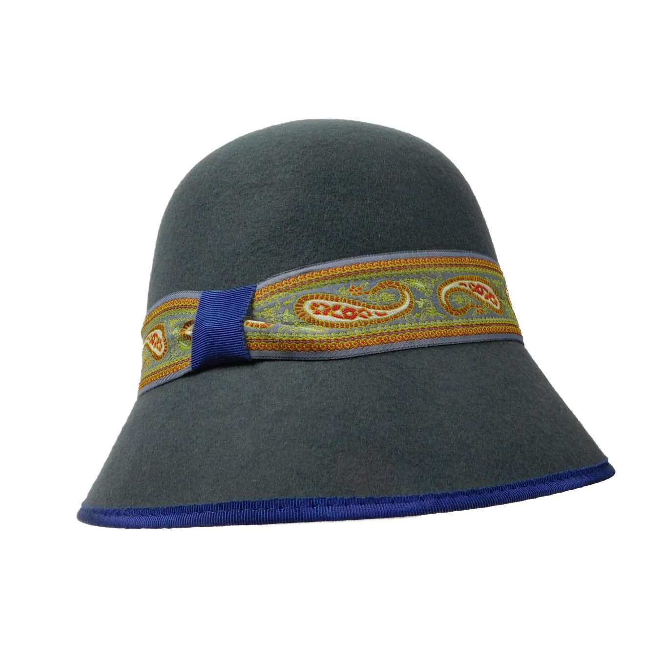 Black Wool Cloche with Paisley Band - SetarTrading Hats