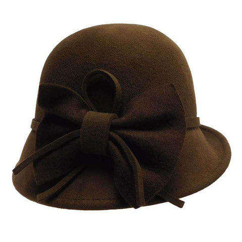 Slanted Brim Wool Felt Cloche with Big Bow by JSA for Women