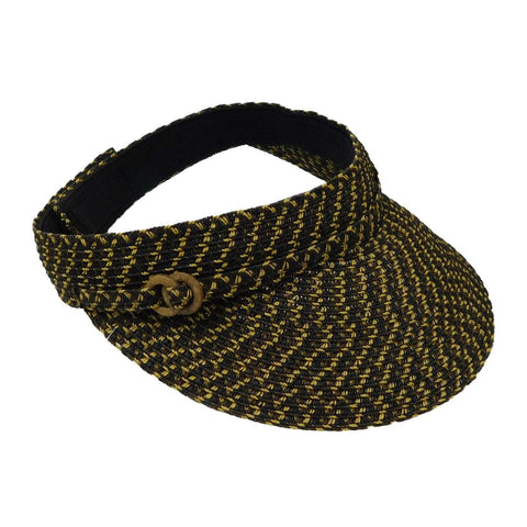 Straw Sun Visor with Belt Buckle Accent