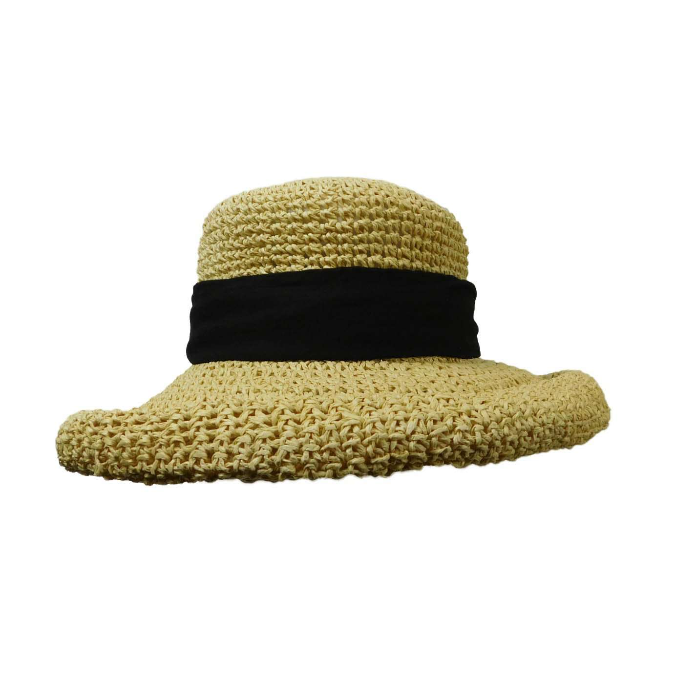 Rolled Brim Toyo Straw Hat with Gauze Tie-ScalaPronto-Packable Sun Hat 6c409e38cf33
