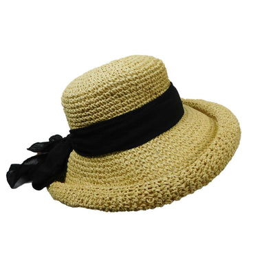 Rolled Brim Toyo Straw Hat with Gauze Tie by Scala Pronto - SetarTrading Hats