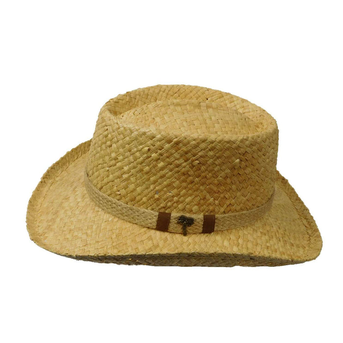 Scala Organic Raffia Gambler with Palm Tree Pin - SetarTrading Hats