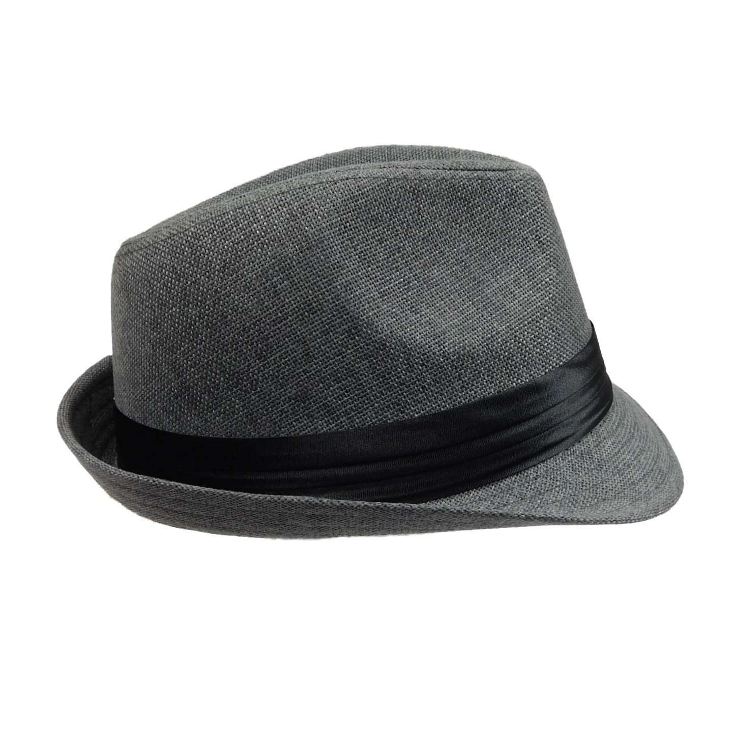 Grey Fedora with Satin Band - SetarTrading Hats