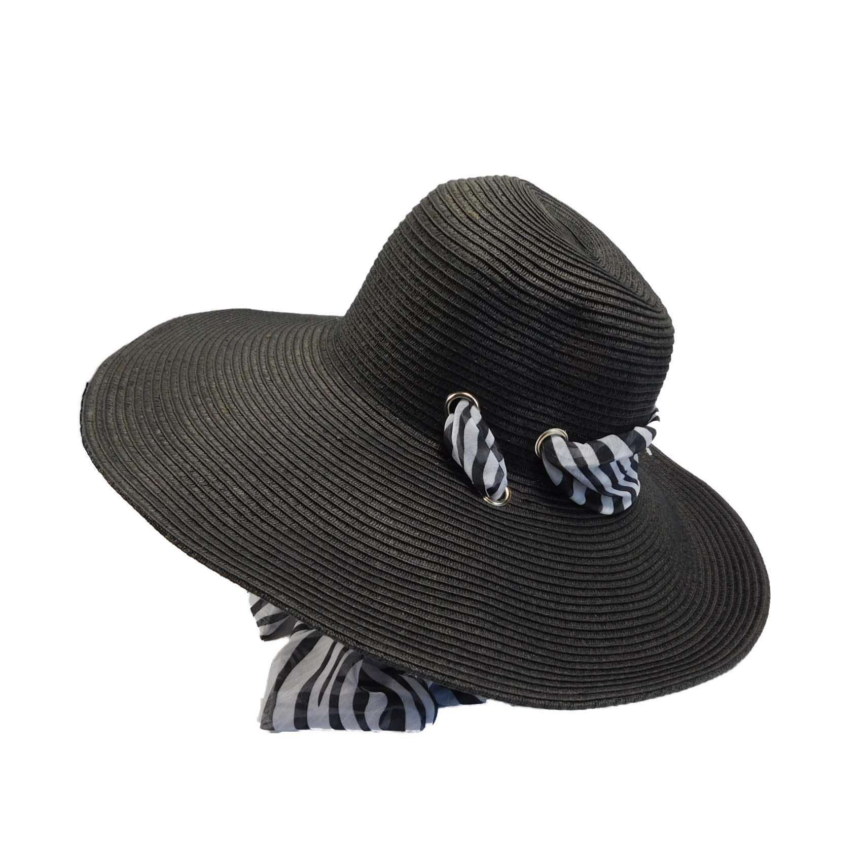 Large Straw Floppy Hat with Scarf - SetarTrading Hats