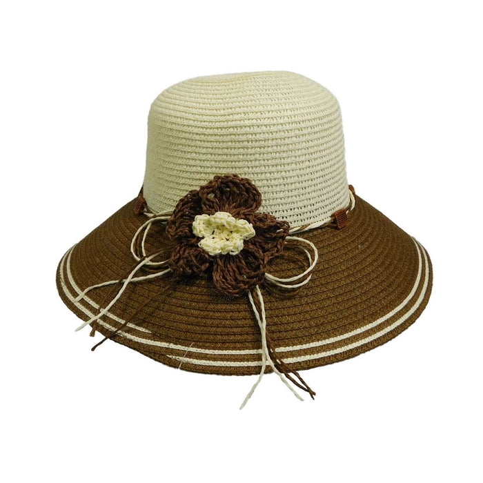 Two Tone Summer Hat with Crochet Flower - SetarTrading Hats