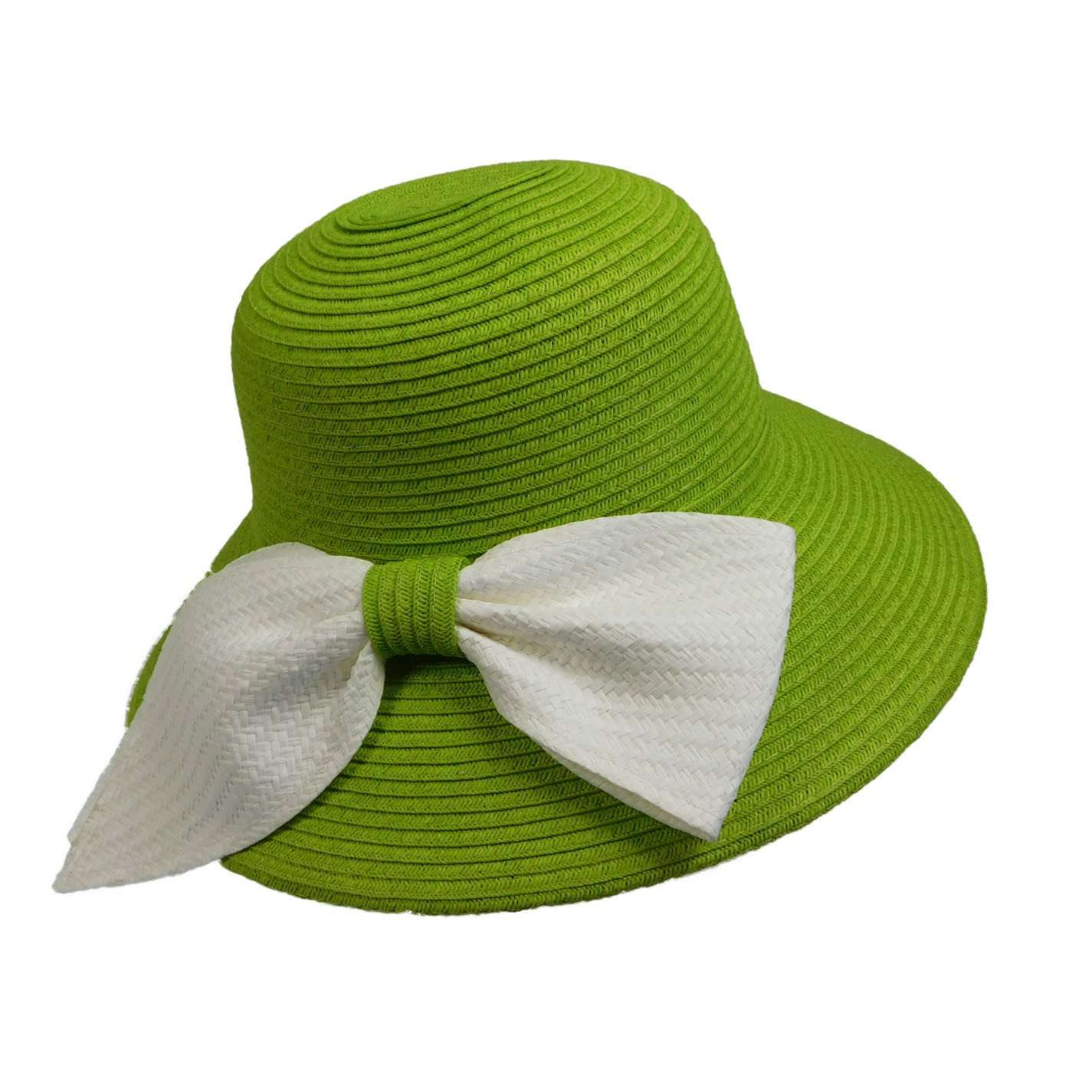 Big Brim Sun Hat with White Bow - SetarTrading Hats