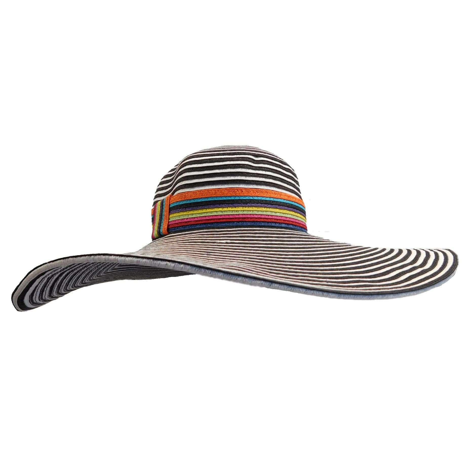 Huge Striped Brim Floppy with Multicolor Band - SetarTrading Hats