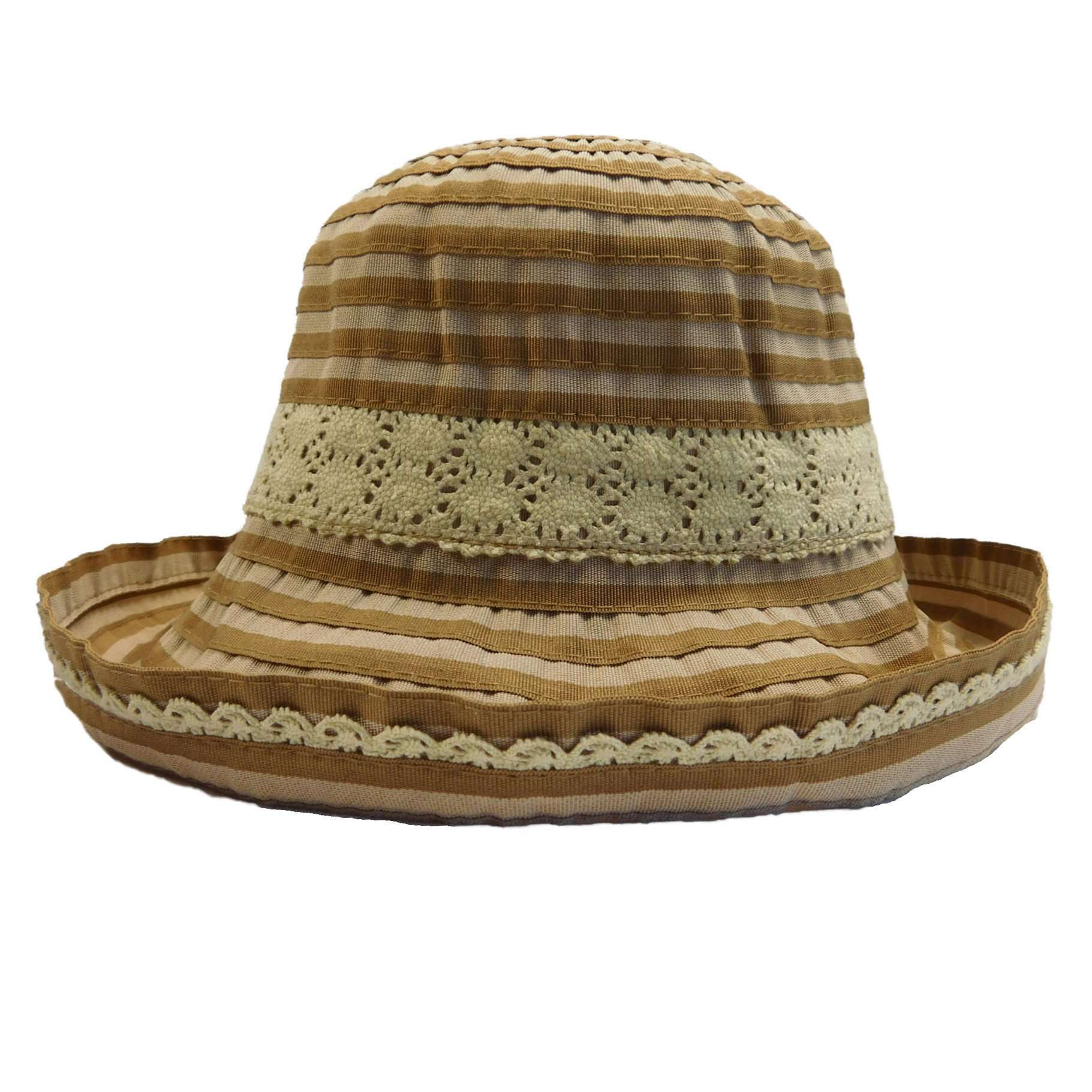 Striped Ribbon Hat with Lace Detail - SetarTrading Hats