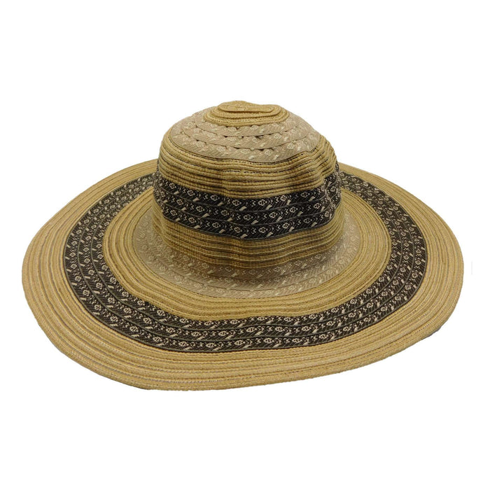 Ribbon and Straw Sun Hat with Tribal Motif - SetarTrading Hats