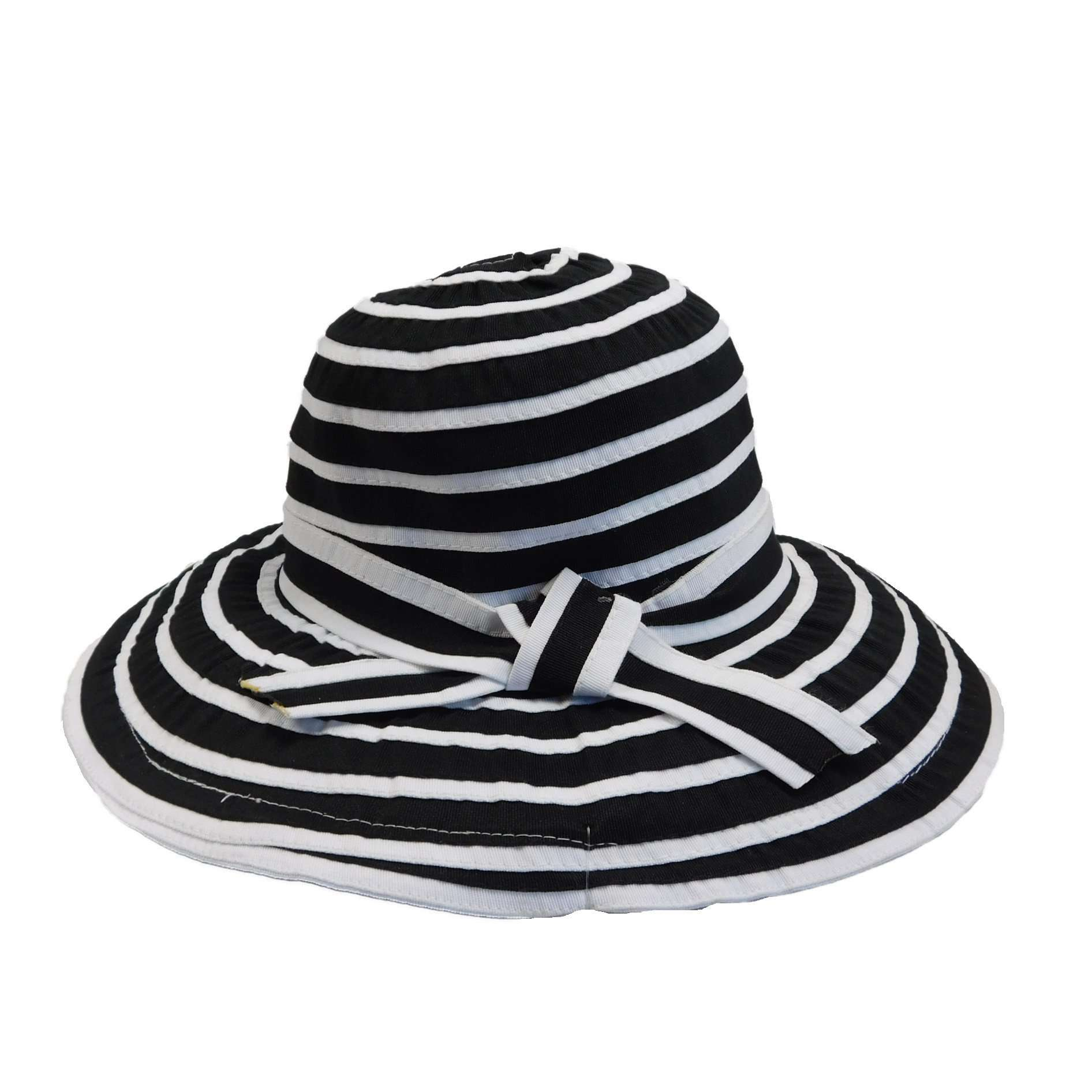 Striped Big Brim Ribbon Hat - SetarTrading Hats