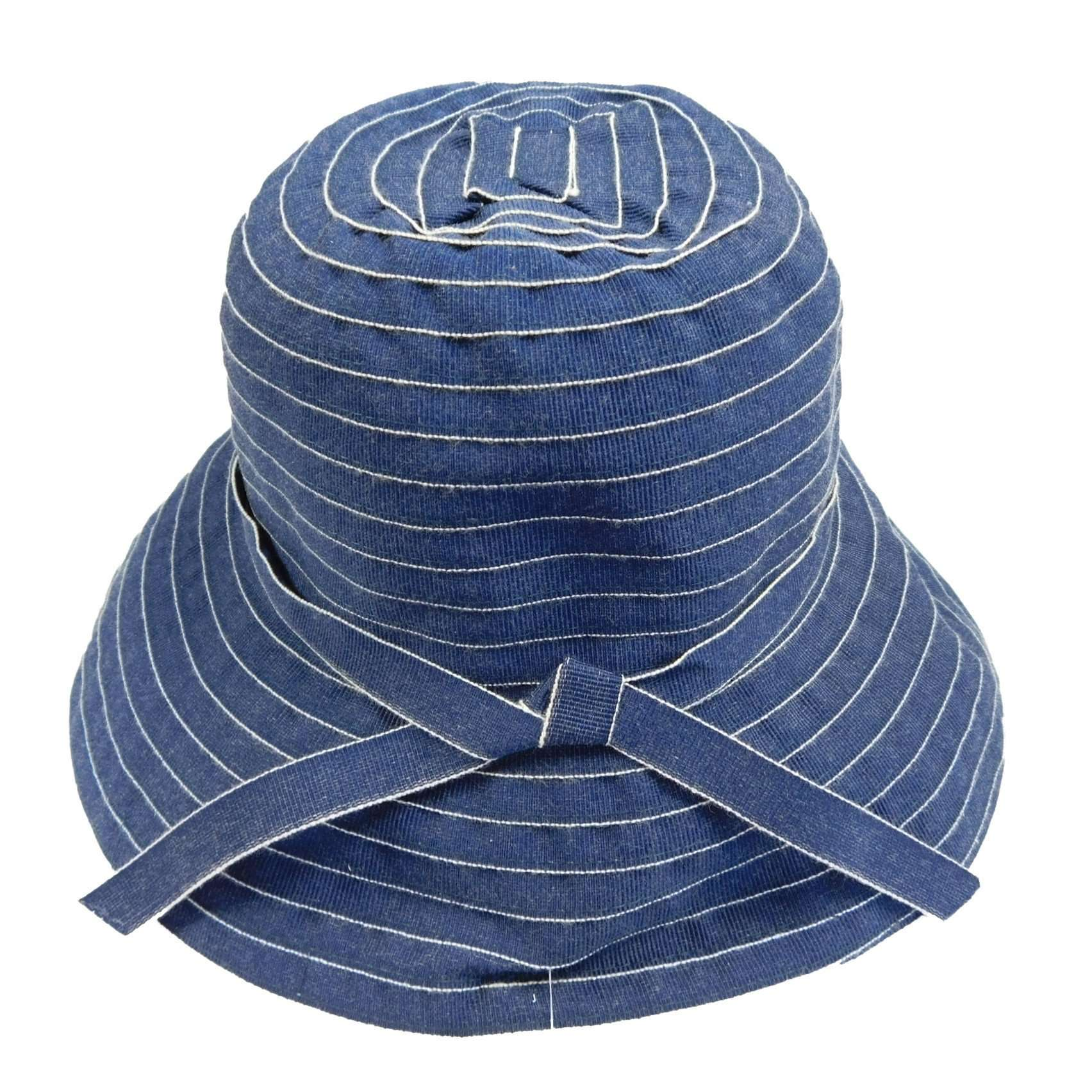 Denim Sewn Ribbon Bucket Hat - SetarTrading Hats
