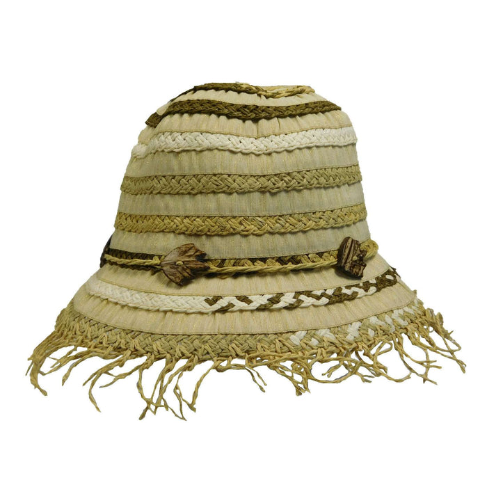 Braided Straw and Metallic Ribbon Hat - SetarTrading Hats