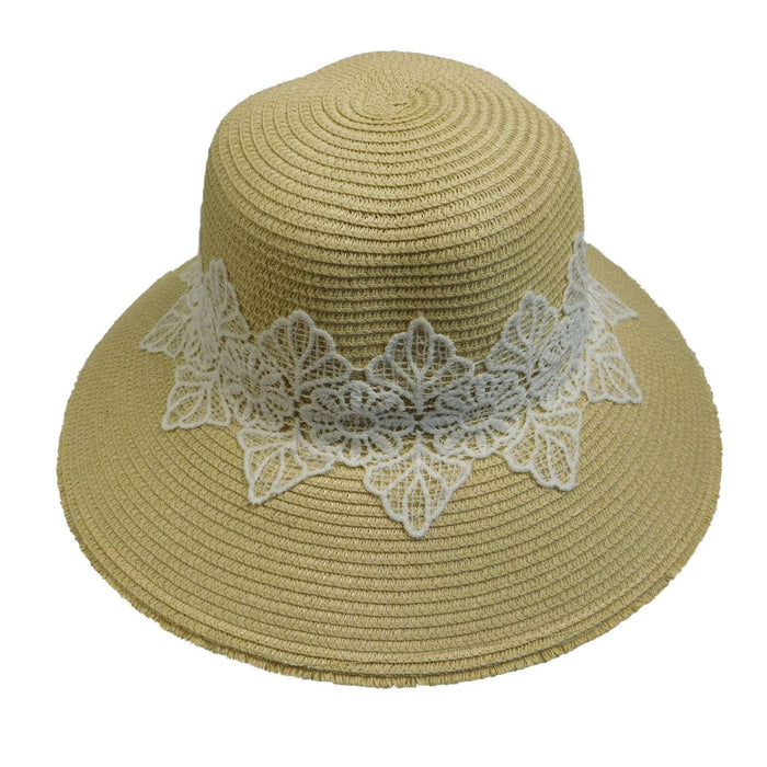 Straw Big Brim Hat Decorated with Lace - SetarTrading Hats
