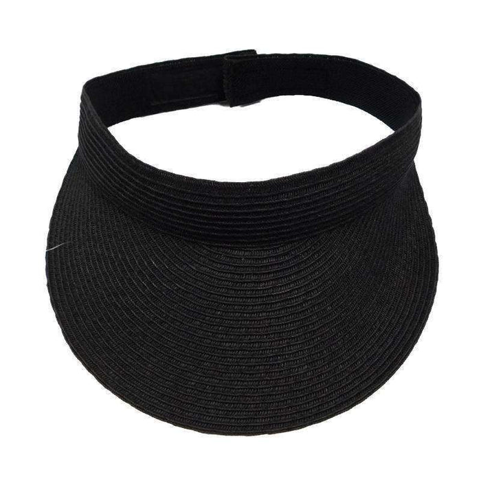 Solid Color Straw Sun Visor - Jeanne Simmons Accessories