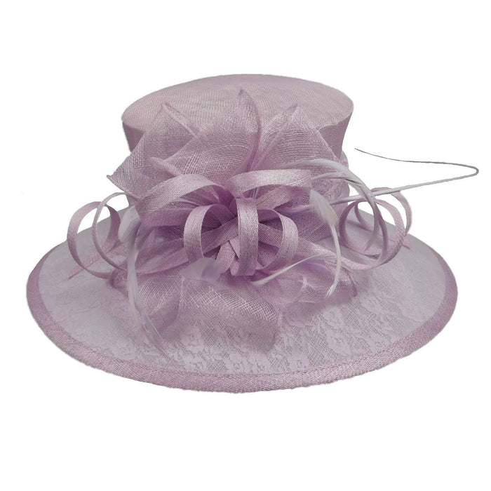 Sinamay Hat with Large Lace Brim - SetarTrading Hats