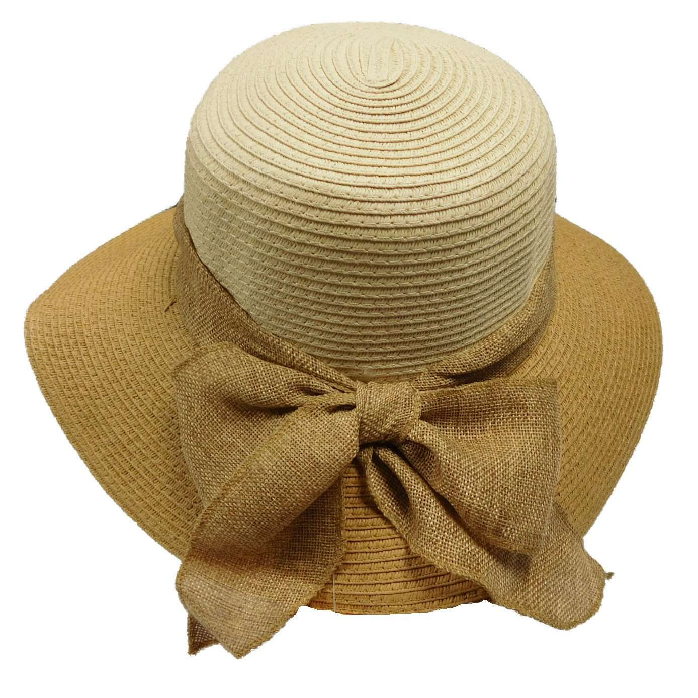 Two Tone Sun Hat with Linen Bow - SetarTrading Hats