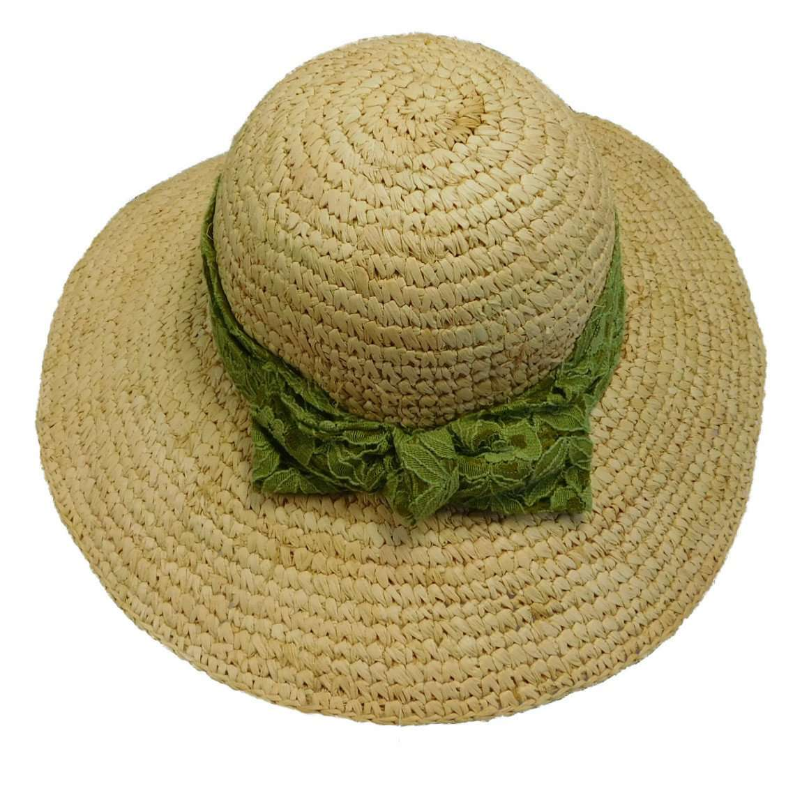 Crochet Raffia Sun Hat with Lace Scarf - SetarTrading Hats