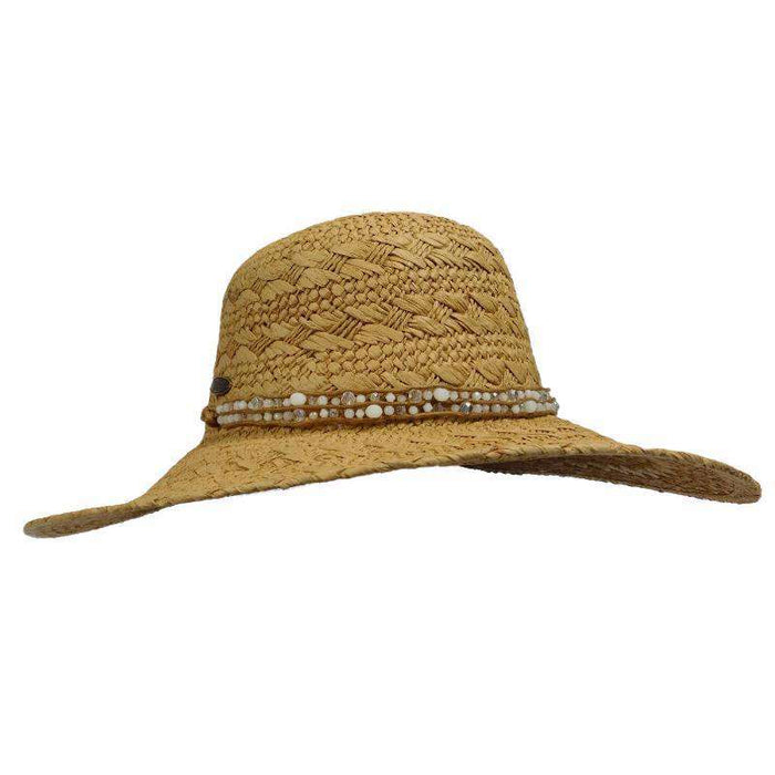Straw Sun Hat with Beaded Leatherette Band -Cappelli Straworld - SetarTrading Hats