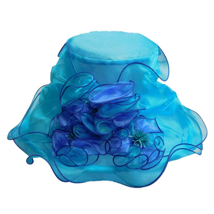 Two Tone Ruffle Flower Organza Hat - SetarTrading Hats