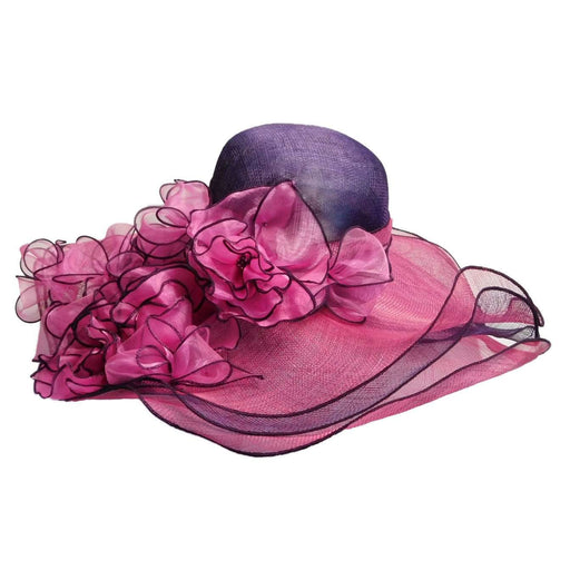 Layered Sinamay Hat with Sheer Flowers - SetarTrading Hats