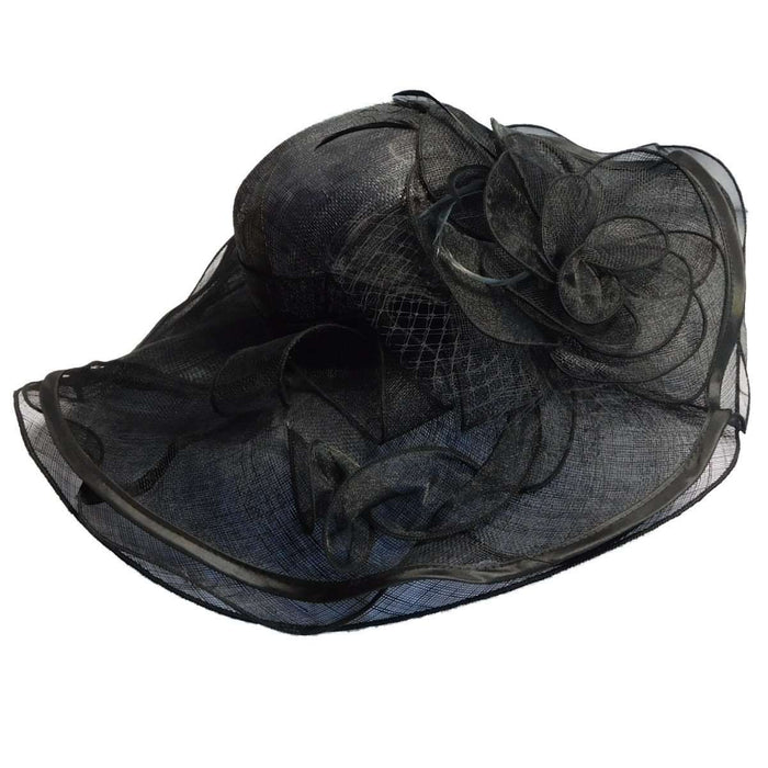 Layered Sinamay Hat with Satin Trim - SetarTrading Hats