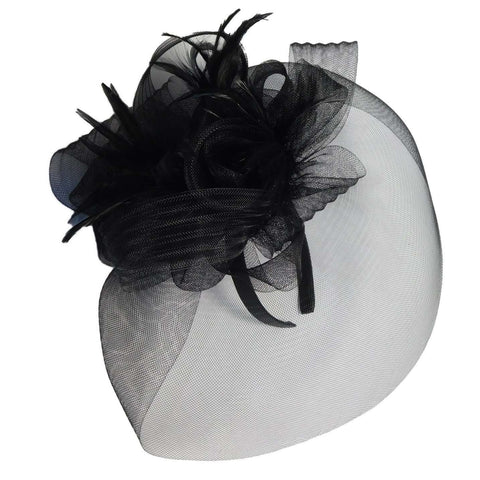 Large Mesh Veil Fascinator with Feathers