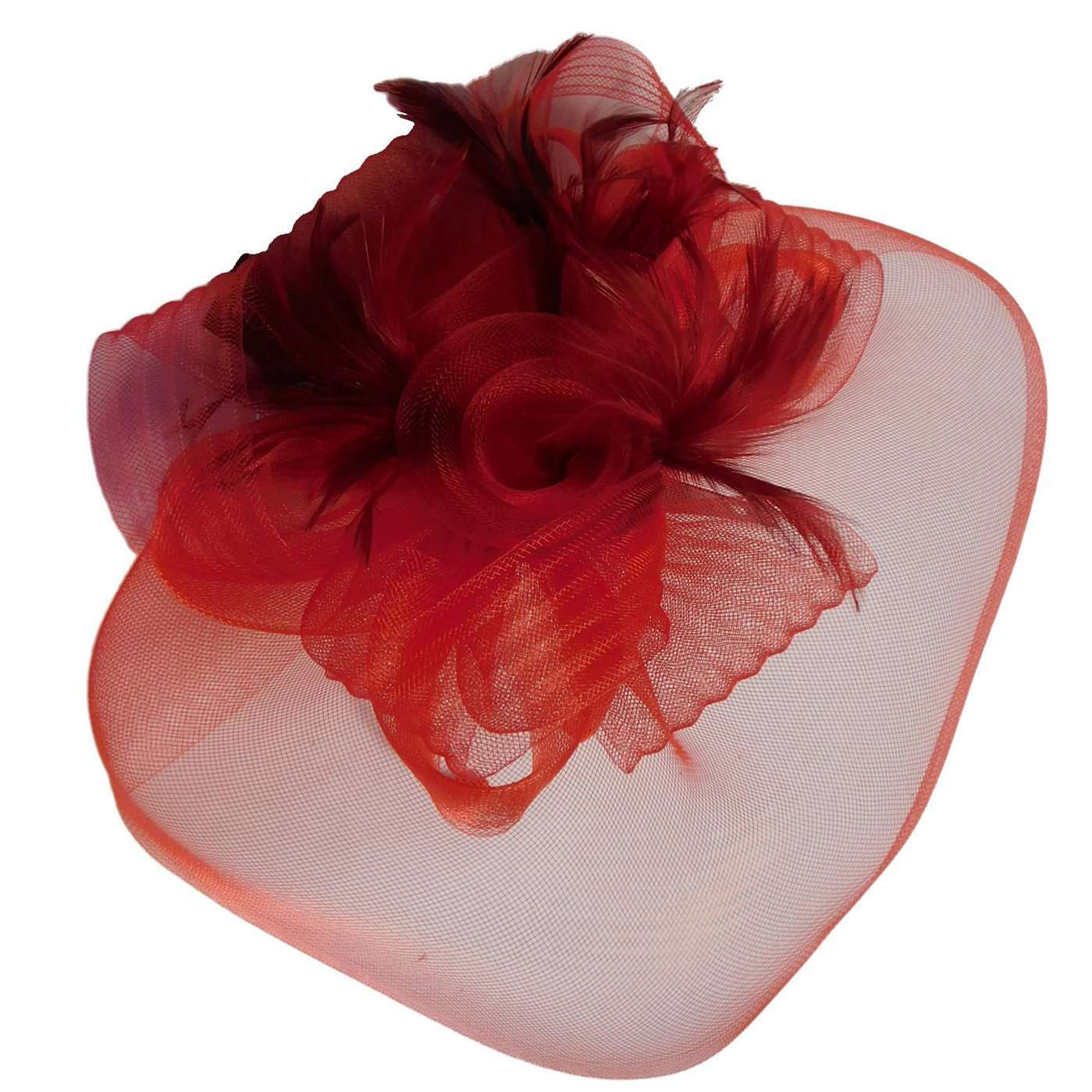 Large Mesh Veil Fascinator with Feathers - SetarTrading Hats