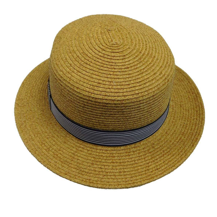 Straw Boater Hat with Striped Band - SetarTrading Hats