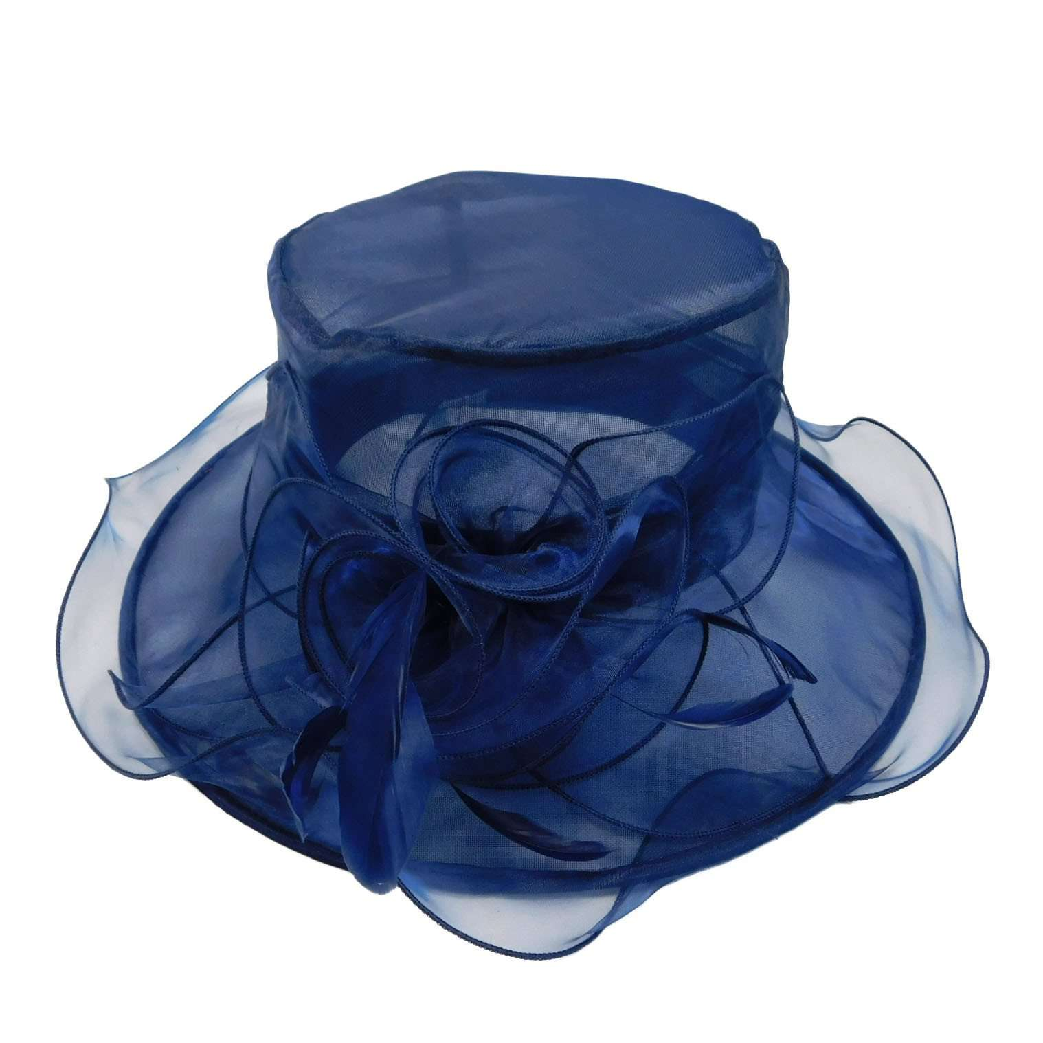 Ruffle Organza Hat with Feathers - SetarTrading Hats