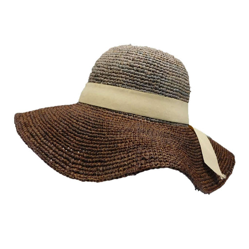 Two Tone Raffia Sun Hat - Brown - SetarTrading Hats