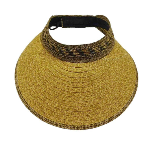 Wide Brim Mixed Braid Roll-Up Sun Visor Hat - Milani - SetarTrading Hats