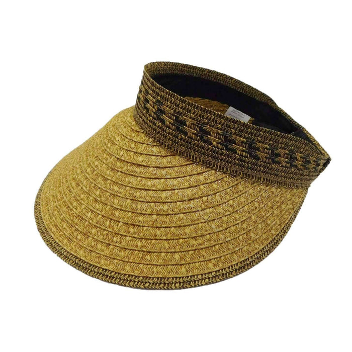 Wide Brim Mixed Braid Roll-Up Sun Visor Hat - Milani- SetarTrading Hats