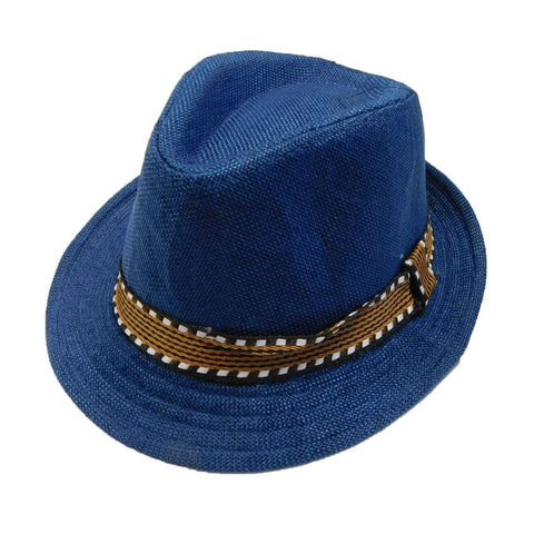 Kid's Fedora with Pattern Band - Blue