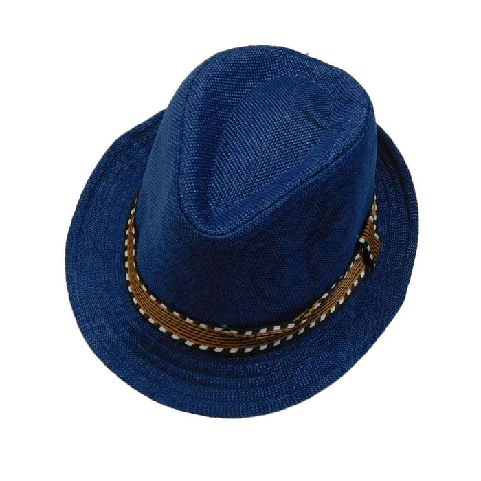 Kid's Fedora with Pattern Band - Blue - SetarTrading Hats