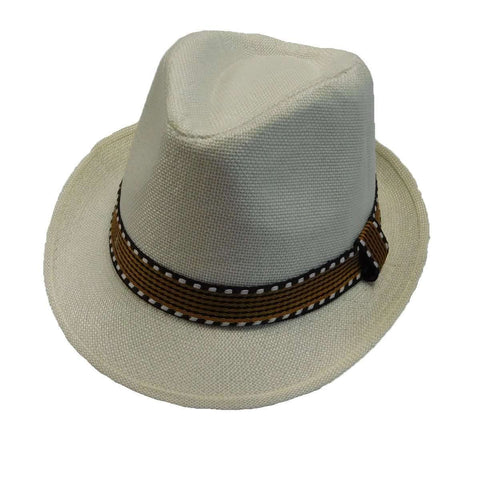 Kid's Fedora with Pattern Band - White