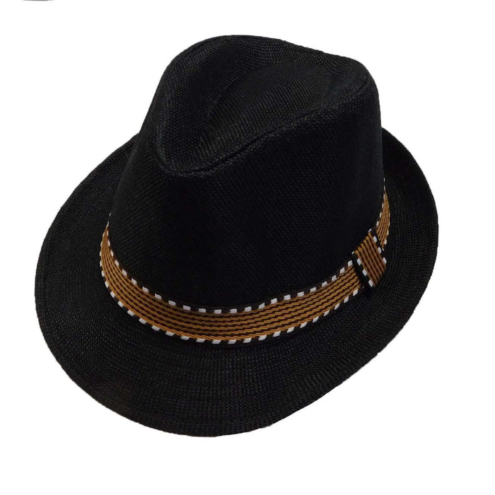 Kid's Fedora with Pattern Band - Black - SetarTrading Hats