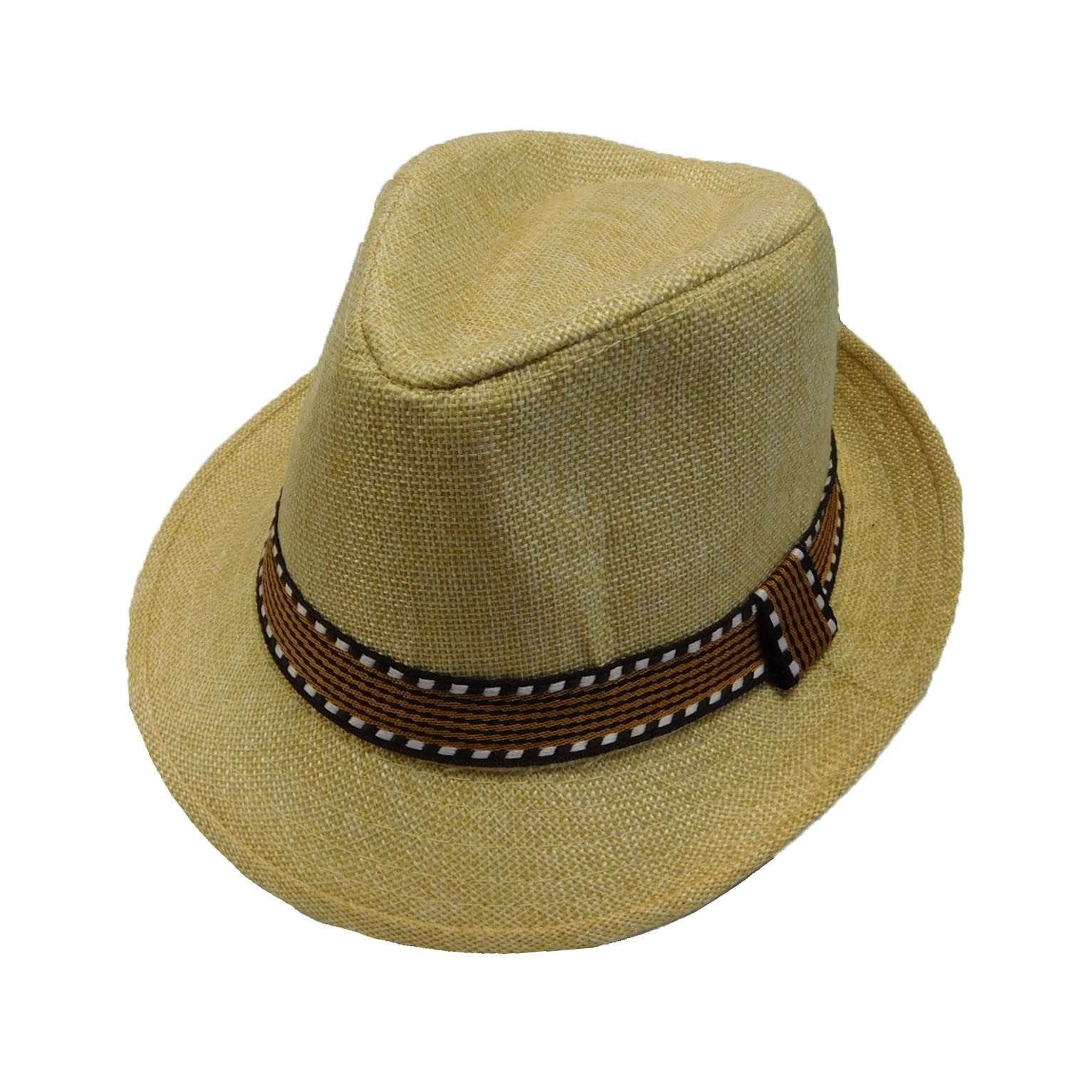 Kid's Fedora with Pattern Band - Natural - SetarTrading Hats