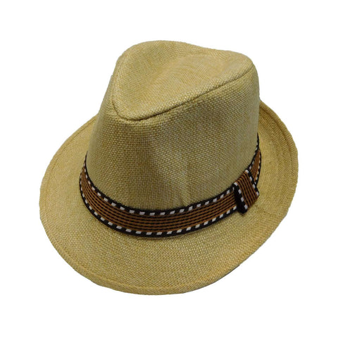 Kid's Fedora with Pattern Band - Natural