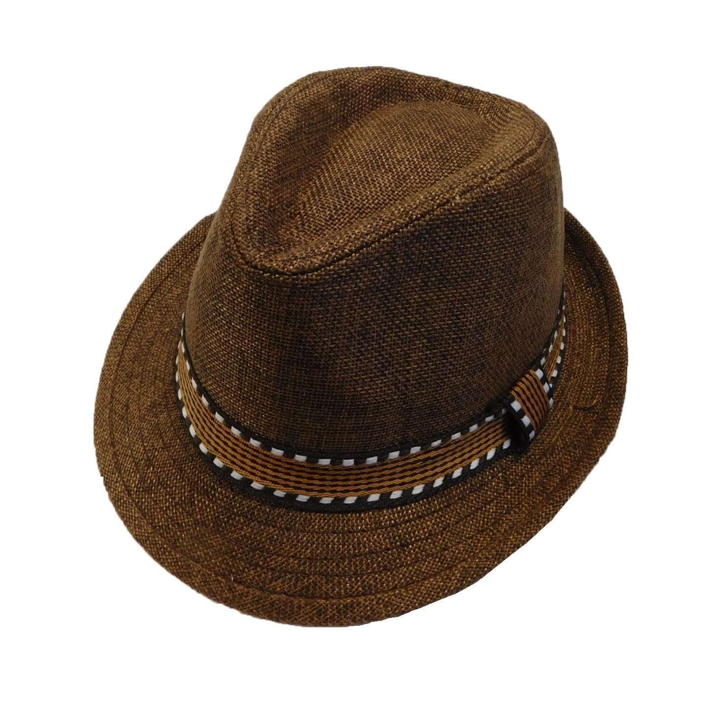 Kid's Fedora with Pattern Band - Brown - SetarTrading Hats